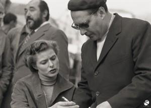 Ingrid Bergman con Roberto Rossellini sul set del film Viaggio in Italia