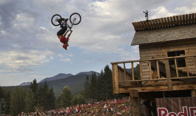 Linus Sjoholm of Sweden competes in the Red Bull Joyride during Crankworx 2012 mountain bike festival in Whistler
