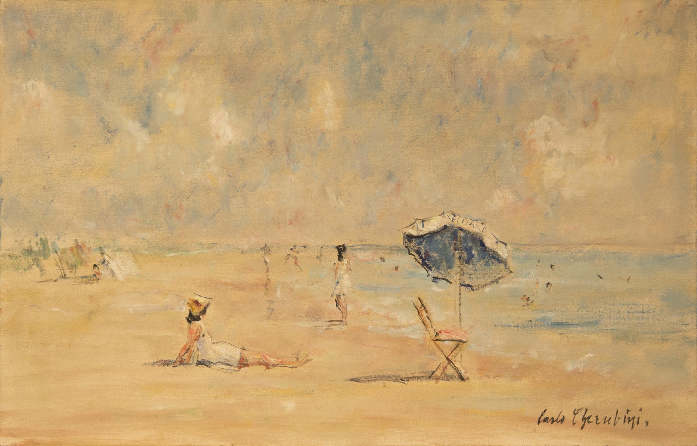 73. Carlo Cherubini, Spiaggia del lido, olio su tela cm45x70, Collezione privata
