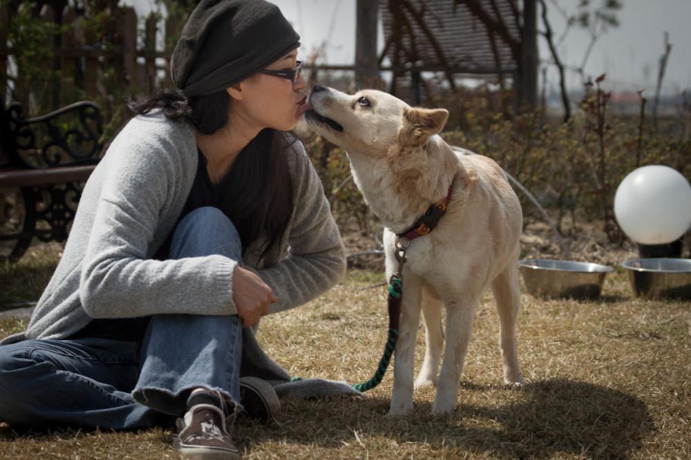 EK and her dog Samsoon in Korea
